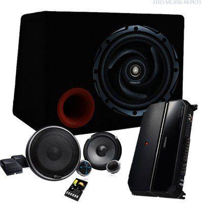 Kenwood 1000 Watt Ses Sistemi Seti Bass + Amfi + Mid Hoparlör + Kablo Seti